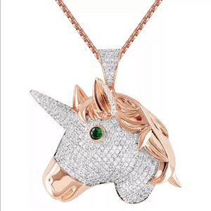 Iced Out Unicorn Pendant (Rose Gold)
